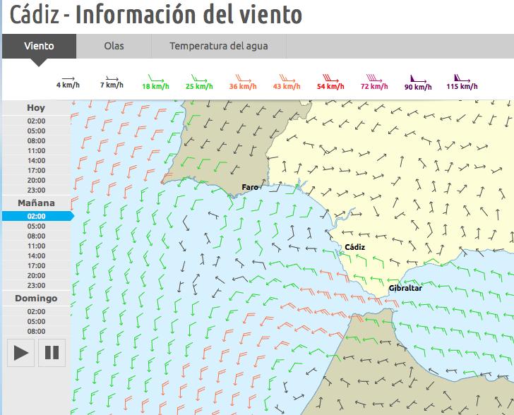 Previsión viento sábado 23 de mayo 2015